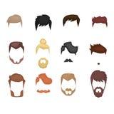 Insieme delle barbe, baffi maschii Stile dei pantaloni a vita bassa Illustrazione di vettore Immagini Stock Libere da Diritti