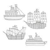 Insieme delle barche monocromatiche e delle navi di scarabocchio di vettore isolate su fondo bianco illustrazione vettoriale