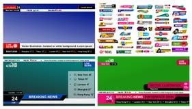 Insieme delle barre di notizie della TV Segno di notizie di progettazione, scorrente video Rompendosi, falsificazione, notizie di Fotografia Stock