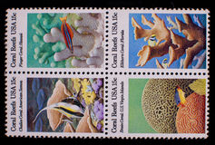 Insieme delle barriere coralline U.S.A. dei francobolli Immagini Stock Libere da Diritti