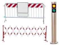 Insieme delle barriere della strada e dei semafori Fotografia Stock