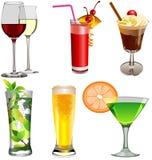 Insieme delle bevande. Fotografie Stock Libere da Diritti