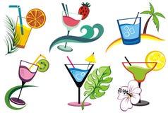 Insieme delle bevande alcoliche, cocktail Fotografie Stock Libere da Diritti