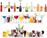 Insieme delle bevande alcoliche e dei cocktail differenti Fotografia Stock Libera da Diritti