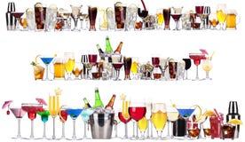 Insieme delle bevande alcoliche e dei cocktail differenti Immagine Stock