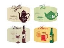 Insieme delle bevande - caffè, tè, vino, birra immagini stock