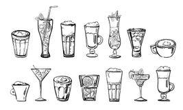 Insieme delle bevande del cocktail e del caffè Schizzo disegnato a mano di vettore del fumetto del profilo illustrazione vettoriale