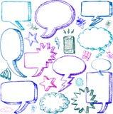 Insieme delle bolle comiche disegnate a mano di discorso Immagine Stock Libera da Diritti