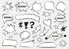 Insieme delle bolle di discorso Insieme del modello in bianco nello stile di Pop art Illustrazione di vettore illustrazione di stock