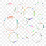 Insieme delle bolle di sapone trasparenti di vettore Fotografia Stock Libera da Diritti