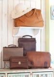 Insieme delle borse di cuoio Immagine Stock