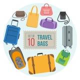 Insieme delle borse di viaggio Fotografie Stock