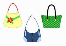 Insieme delle borse femminili alla moda Fotografia Stock Libera da Diritti