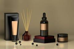 Insieme delle bottiglie cosmetiche con il diffusore domestico del profumo nel colore scuro illustrazione vettoriale