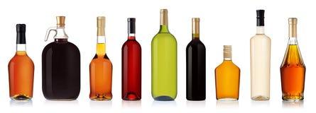 Insieme delle bottiglie del brandy e del vino Immagine Stock Libera da Diritti