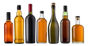 Insieme delle bottiglie del brandy e del vino Fotografie Stock Libere da Diritti