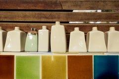 Insieme delle bottiglie della ceramica Fotografia Stock Libera da Diritti