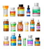 Insieme delle bottiglie della medicina con le etichette Fotografia Stock