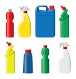 Insieme delle bottiglie detergenti di plastica Fotografie Stock Libere da Diritti