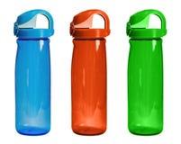 Insieme delle bottiglie di colore per lo sport isolate Tre bottiglie di plastica f immagine stock libera da diritti
