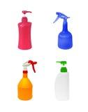 Insieme delle bottiglie di plastica isolate su fondo bianco Immagine Stock