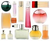 Insieme delle bottiglie di profumo isolate su bianco Fotografie Stock Libere da Diritti
