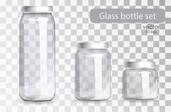 Insieme delle bottiglie di vetro trasparenti Banche realistiche Immagine Stock Libera da Diritti