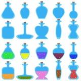 Insieme delle bottiglie di vettore del fumetto di forma differente per un gioco Fotografia Stock
