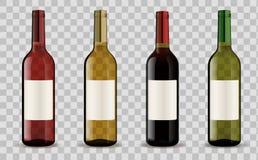 Insieme delle bottiglie di vino isolate su fondo trasparente Fotografie Stock Libere da Diritti