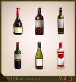 Insieme delle bottiglie di vino realistiche Immagine Stock