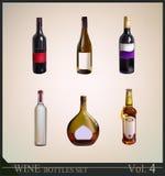 Insieme delle bottiglie di vino realistiche Fotografia Stock Libera da Diritti
