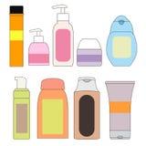 Insieme delle bottiglie per il bagno Cosmetici L'igiene personale Immagine Stock