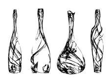 Insieme delle bottiglie stilizzate Fotografia Stock