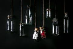 Insieme delle bottiglie vuote Immagini Stock Libere da Diritti