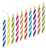 Insieme delle candele di compleanno Nuovo, cand estinto e bruciante Fotografie Stock Libere da Diritti