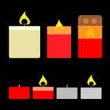 Insieme delle candele Illustrazione piana di vettore di stile Immagine Stock
