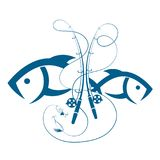 Insieme delle canne da pesca e del pesce illustrazione di stock
