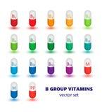 Insieme delle capsule che contengono le vitamine di B illustrazione vettoriale