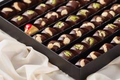 Insieme delle caramelle di cioccolato fatte a mano di lusso in contenitore di regalo Fotografia Stock Libera da Diritti