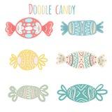 Insieme delle caramelle festive colorate multi del fumetto di varie forme Immagine Stock Libera da Diritti