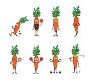 Insieme delle carote divertenti che fanno sport Illustrazione di vettore del fumetto isolata su fondo bianco Caratteri svegli e m royalty illustrazione gratis