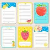 Insieme delle carte con frutta Fotografia Stock Libera da Diritti