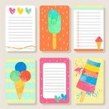 Insieme delle carte con gelato Fotografie Stock Libere da Diritti