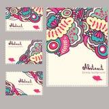 Insieme delle carte con gli elementi floreali astratti Immagine Stock