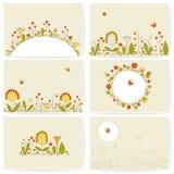 Insieme delle carte con i fiori royalty illustrazione gratis
