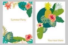 Insieme delle carte con le piante tropicali Foglie della banana e della palma, frutti, fiori Fotografia Stock Libera da Diritti
