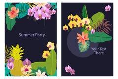 Insieme delle carte con le piante tropicali sul fondo di contrasto Immagine Stock