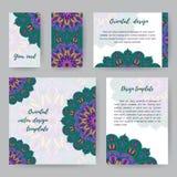 Insieme delle carte con Mandala4 Fotografia Stock