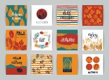 Insieme delle carte creative artistiche di autunno Immagini Stock