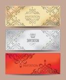 Insieme delle carte d'annata dell'invito Fotografie Stock